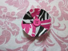 zebra print mixed with pink/white damask print fabric button flower clip
