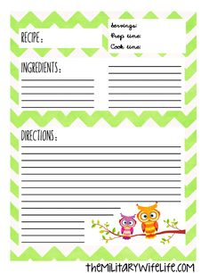 Free Printable Recipe Binder Page | The Military Wife Life