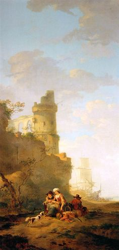 Italian landscape with ruin Artist: Jacob van Strij The ruin in the background gives the painting an air of old and sturdy