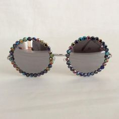 Free Child - Embellished Sunglasses Glasses Reflective Black Acrylic Rhinestone Rhinestones Bling Silver