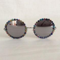 Free Child - Embellished Sunglasses Glasses Reflective Black Acrylic Rhinestone Rhinestones Bling Silver