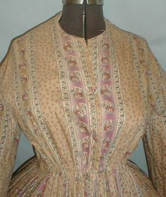 Fetching 1860's Tan Mauve Floral Print Cotton Dress | eBay. May be a wrapper; listing suggests maternity wear.