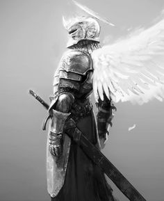 Angel Warrior Tattoo, Warrior Tattoos, Greek God Tattoo, Character Art, Character Design, Wolf Warriors, Heaven Art, Knight Tattoo, Armadura Medieval