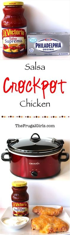 Crockpot Salsa Chicken Recipe! ~ from TheFrugalGirls.com ~ you will love this easy Slow Cooker dinner dish, full of zesty kick! SO yummy!