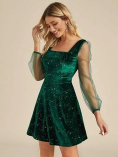 Shop Galaxy Print Contrast Sheer Mesh Velvet Dress EmmaCloth-Women Fast Fashion OnlineThe Effective Pictures We Offer You About Women Dress midi A quality picture can tell you many things. You can find the most beautiful pictures that can be presente Hoco Dresses, Pretty Dresses, Dress Outfits, Casual Dresses, Green Dress Outfit, Green Dress Casual, Sheer Dress, Dress Up, Sheer Sleeve Dress
