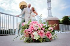 Love this pink and cream bridal bouquet. See more from this modern blue wedding in Knoxville! Formalwear by @josabankformal. Pics by Maganda Moments | The Pink Bride® www.thepinkbride.com