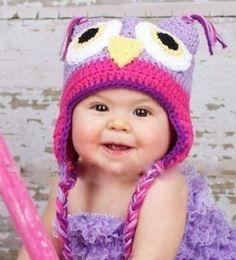 "Photo Props Baby Hat ""Purple Owl"" de Sawina por DaWanda.com"