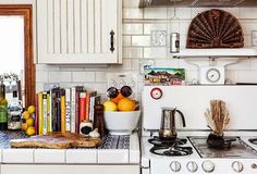 countertop, tileed, blue and white, vintage stove, white subway tile, cutting board Moon to Moon: The Home of Erin Wasson