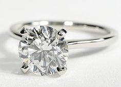 Petite Solitaire Engagement Ring in Platinum . Round 2.44 ct. Diamond Color: H Clarity: VS1 Cut: Signature Ideal $39936