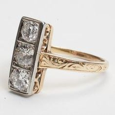Art Deco Diamond 18k Gold Engagement Ring Vintage Estate Fine Old from sartoribrosjewelry on Ruby Lane