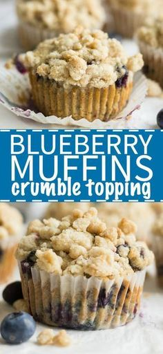 Easy blueberry muffins make for a delicious start to the day! This recipe is filled with blueberries and topped with a cinnamon crumble topping.