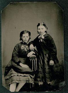 vintage photo tintype Civil WAr Era Sisters