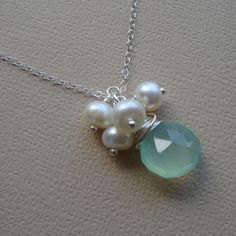 Aqua stone and pearl necklace