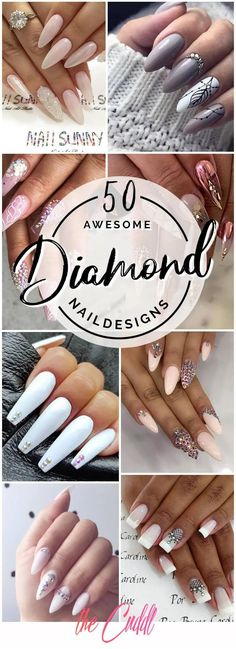 50 Classy Nail Designs with Diamond Ideas that will Steal the Show 50 edle Nageldesigns mit Di Holiday Nail Designs, Classy Nail Designs, White Nail Designs, Acrylic Nail Designs, Holiday Nails, Acrylic Nails, Diamond Nail Designs, Diamond Nails, French Nails