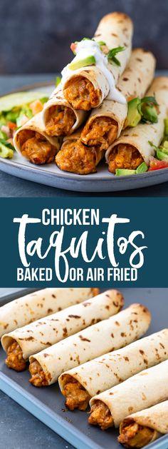 Chicken Taquitos (Baked or Air-Fryer) - - Chicken Taquitos (Baked or Air-Fryer) Cooking Hühnchen-Taquitos (gebacken oder Luftfritteuse) Chicken Taquitos Baked, Taquitos Recipe, Crispy Chicken, Baked Chicken, Air Fryer Dinner Recipes, Air Fryer Recipes Easy, Air Fryer Chicken Recipes, E Cooking, Gourmet