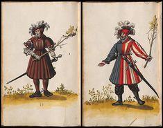 court costumes of 16th century Bavaria 'Hofkleiderbuch (Abbildung und Beschreibung der Hof-Livreen) des Herzogs Wilhelm IV. und Albrecht V. 1508-1551 - BSB Cgm 1951' is available at the Bayerische Staatsbibliothek. [click 'Miniaturansicht']
