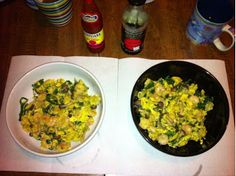 Scrambled Eggs with Poached Shrimp, Baby Kale and Buna Shimeji ...