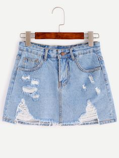 Shop Blue Bleach Wash Distressed Denim Skirt online. SheIn offers Blue Bleach Wash Distressed Denim Skirt & more to fit your fashionable needs.