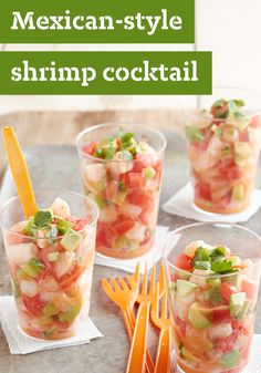 Mexican-Style Shrimp Cocktail – When you're planning your fiesta menu, be sure to include this colorful shrimp cocktail with its fresh avocado and chipotle vinaigrette dressing.