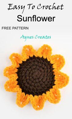 Beginner Crochet, Crochet For Beginners, Learn To Crochet, Free Crochet, Crochet Fall, Unique Crochet, Crochet Sunflower, Crochet Flowers, Afghan Crochet Patterns