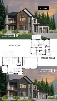 Modern cottage with 3 covered terraces, large master suite, open floor plans, 2 car garage
