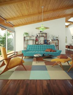 Contemporary Living Room with Soto chair, Midcentury modern, Brylane Home - Peel-N-Stick Carpet Tiles, Exposed beam