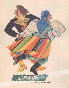 polish dance by Zofia Stryjeńska Folk Dance, Dance Art, Polish Folk Art, Great Paintings, My Heritage, Folklore, Traditional Outfits, Caricature, Illustration Art