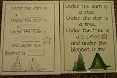 Cute poem for a camping theme.  The children write in the missing words.