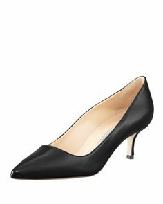 BB Leather 50mm Pump, Black (Made to Order) by Manolo Blahnik at Bergdorf Goodman.  Work shoes please.