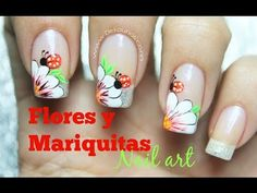 Decoración de uñas flor y mariquita - Flower and lady bug nail art - YouTube