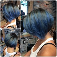 blue highlights on black hair @RachelRingwood