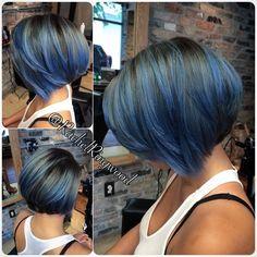 blue highlights on black hair -- wonder how this would look on my dark blonde. Natural Hair Styles, Short Hair Styles, Black Hair With Highlights, Short Brown Hair, Hair Color And Cut, Purple Hair, Pastel Hair, Gray Hair, Hair Today