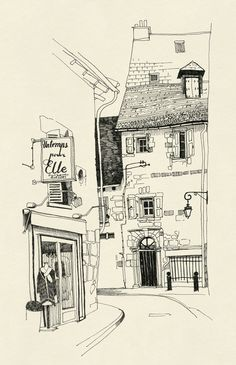 by Anton Marrast Cityscape Drawing, City Drawing, Architecture Drawing Sketchbooks, Watercolor Architecture, Building Illustration, Illustration Art, Urban Sketching, Art Drawings Sketches, Art Sketchbook