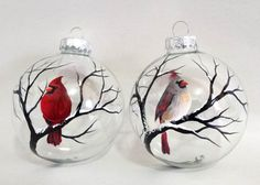 Cardinal Ornaments Hand Painted Glass Red Bird Female and Male set of two Spiritual Winter White Christmas Tree Holiday Seasonal Decor This