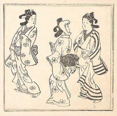 Leaf from a Book Entitled: Wakoku Hiaku-jo: One Hundred Japanese Women  Hishikawa Moronobu  (Japanese, 1625–1694)  Period: Edo period (1615–1868) Culture: Japan Medium: Monochrome woodblock print; ink on paper