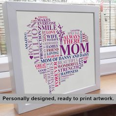 Gift for mother - words to describe your mom in the shape of a heart