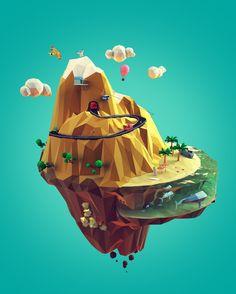 Lowpoly mountain on Behance Modelos Low Poly, Modelos 3d, 3d Cinema, Low Poly Games, Polygon Art, Isometric Art, Low Poly 3d Models, 3d Artwork, Environmental Art