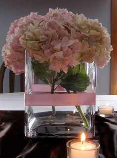 Round Pink hydrangea blossom in square vase with single pink ribbon Pink Hydrangea Centerpieces, Flower Vases, Shabby Chic Pink, Wedding Decorations, Table Decorations, Arte Floral, Pink Peonies, My Flower, Wedding Designs