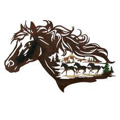 Metal Western Horse Shadow Wall Art, Brown Horse - Decor - Home Decor - Horse Theme - Horse Decor - Horse Love - Mane - Western - Stallion Hanging Wall Art, Metal Wall Art, Wall Hangings, Wall Sculptures, Sculpture Art, Horse Stencil, Stylo 3d, Western Bedrooms, Horse Wall Art