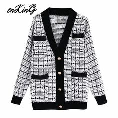 2019 Spring Autumn New Pattern V-collar Long Sleeve Single Breasted Knitting Pockets Vintage Sweater Women Cheap Cardigans, Cardigan Sweaters For Women, Sweater Coats, Sweater Outfits, Cardigans For Women, Women's Sweaters, Cardigan En Maille, Knit Cardigan
