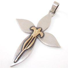 James Avery RARE Retired Sterling Silver 14k Gold Golden Lily Cross Pendant   eBay