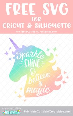 Believe in Magic Unicorn Free SVG File for Silhouette & Cricut Be. - Believe in Magic Unicorn Free SVG File for Silhouette & Cricut Believe in Magic Unico - Diy Unicorn, Unicorn Crafts, Magical Unicorn, Unicorn Face, Unicorn Shirt, Cricut Svg Files Free, Free Svg Cut Files, Free Cut Files For Silhouette, Brother Plotter