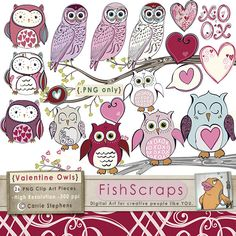 Valentine Owls - Fun, Pink and purple valentine clip art bits & pieces have been hand drawn by me and colored digitally. (Black outlines are also available)    Commercial Use allowed! Use ClipArt for wedding invitations, Valentines, Etsy Shop banners,  Awesome pic!  Check out this post for FREE Valentine's Day Clip Arts  http://tpt-fonts4teachers.blogspot.com/2013/01/san-valentines-day-free-clip-arts.html