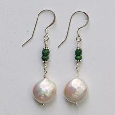 Emerald & Coin Pearl Earrings — Soho South Imports