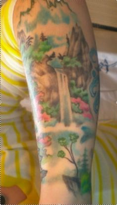 """gave my artist a half dozen chinese scroll pic and he came up with this """"watercolor"""" tat. Life Tattoos, Tatoos, Waterfall Tattoo, Waterfall Design, Sleeve Tattoos For Women, I Tattoo, Tattoo Artists, Watercolor Tattoo, Tatting"""