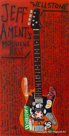 Mother Love B. Guitar Art, Music Guitar, Guitar Painting, Art Music, Pearl Jam, Bass Guitar Straps, Guitar Scales, Jeff Ament, Rock Tattoo
