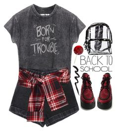 """""""back to school * backpack"""" by emilypondng ❤ liked on Polyvore featuring David Szeto, Disney and BackToSchool"""