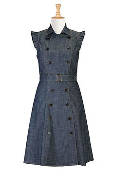Style Stalk!!!!  I <3 this Cotton chambray trench dress from eShakti. You'll be mine soon.