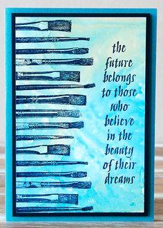 Card by Rachel Greig using Darkroom Door Paint Brushes Eclectic Stamp and quote from Art de Fleur Vol 1 Rubber Stamp Set