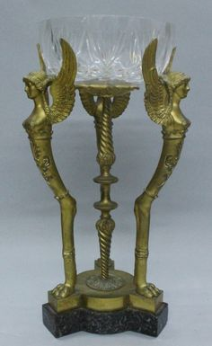 GILT BRONZE AND BACCARAT STYLE CUT GLASS CENTERPEICE